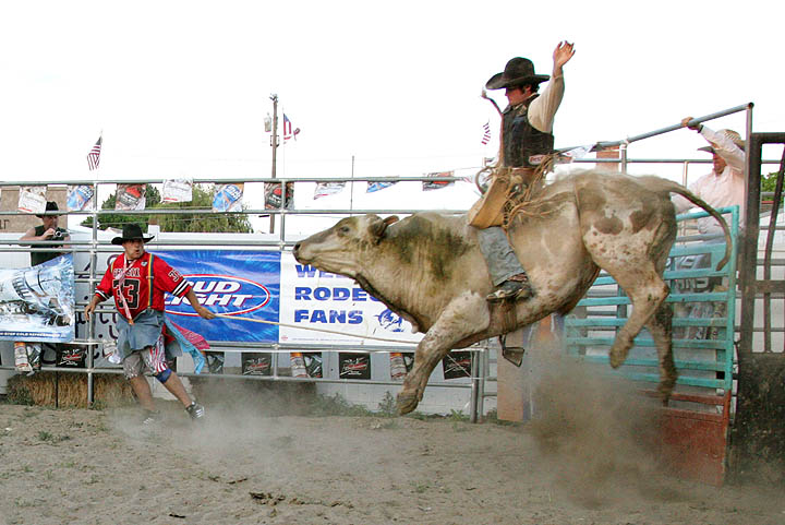 Weiser, Idaho resident Dally Mason makes a grand entrance into the arena.