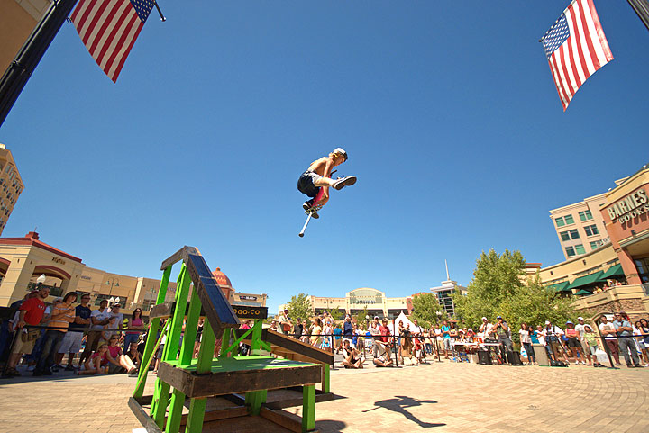 Biff Hutchison performs high above the crowd at the 2010 Pogopalooza event in Salt Lake City, Utah.